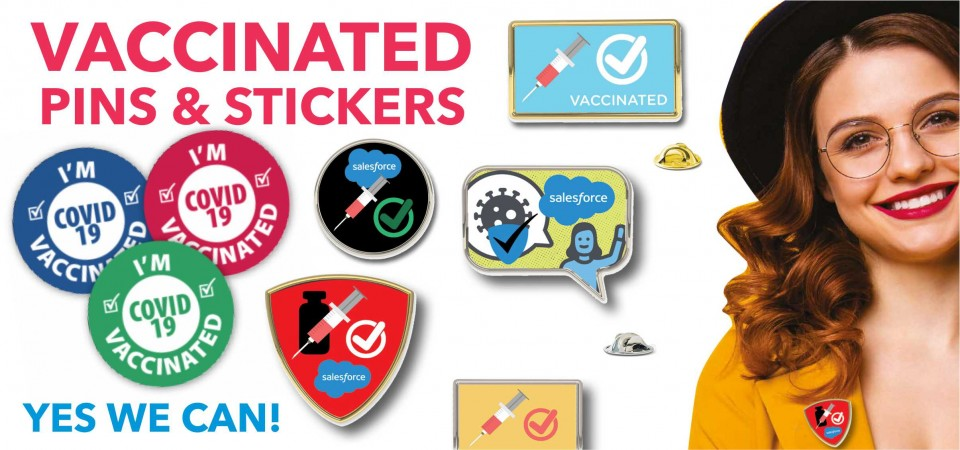Vaccinated Pins & Stickers
