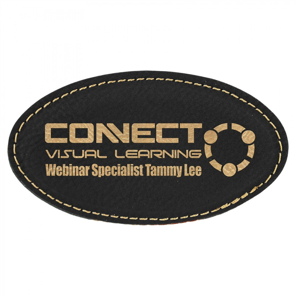 """Leatherette 3.25"""" x 1.75"""" Oval Name Badge (New Arrivals!)"""