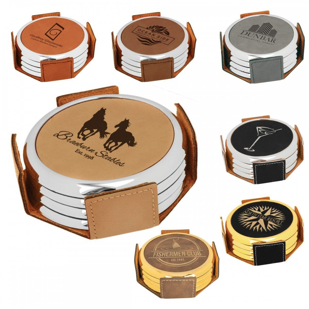 Leatherette Round 4 Coaster Set With Metal Trim