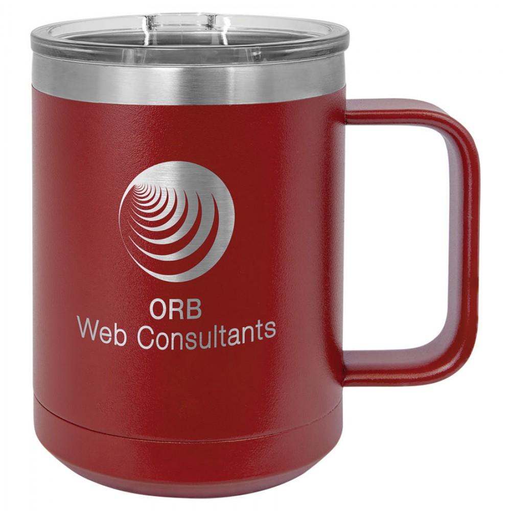 Polar Camel 15 oz. Vacuum Insulated Mug with Slider Lid and Handle -