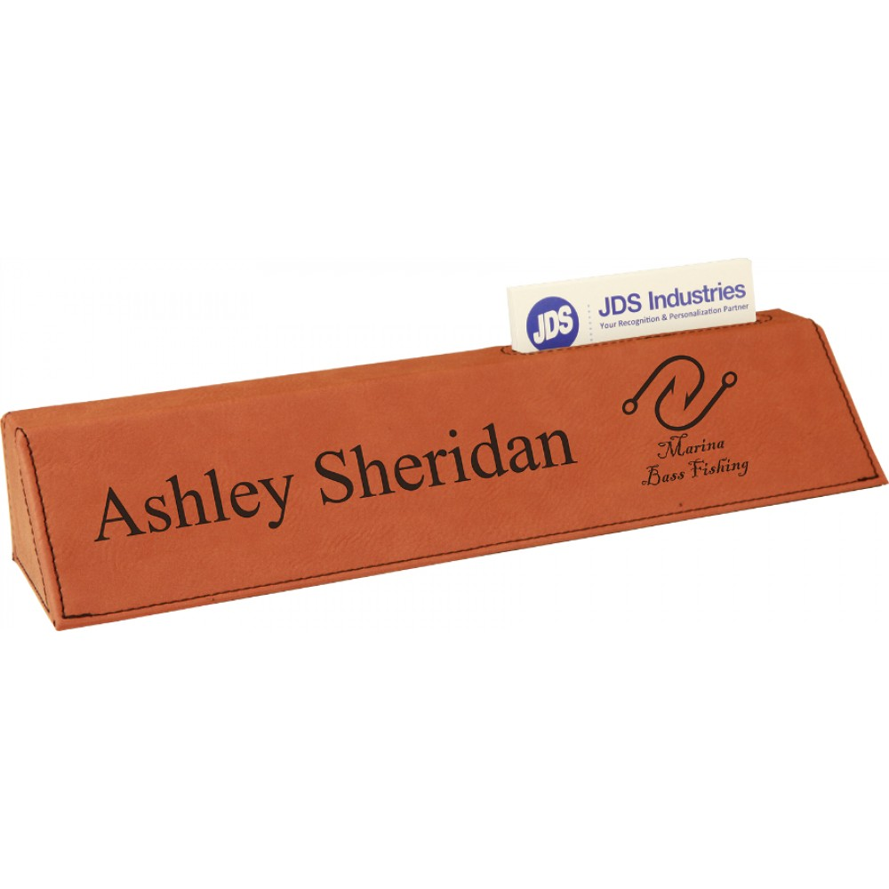 """10.5"""" Leatherette Desk Wedge With Business Card Holder (Leatherette)"""