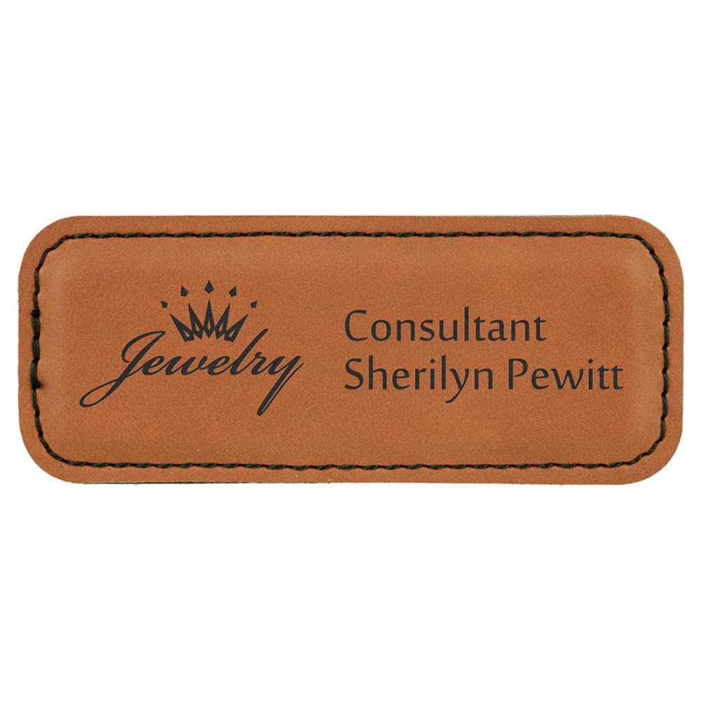 """Leatherette 3.25"""" x 1.25"""" Name Badge (New Arrivals!)"""