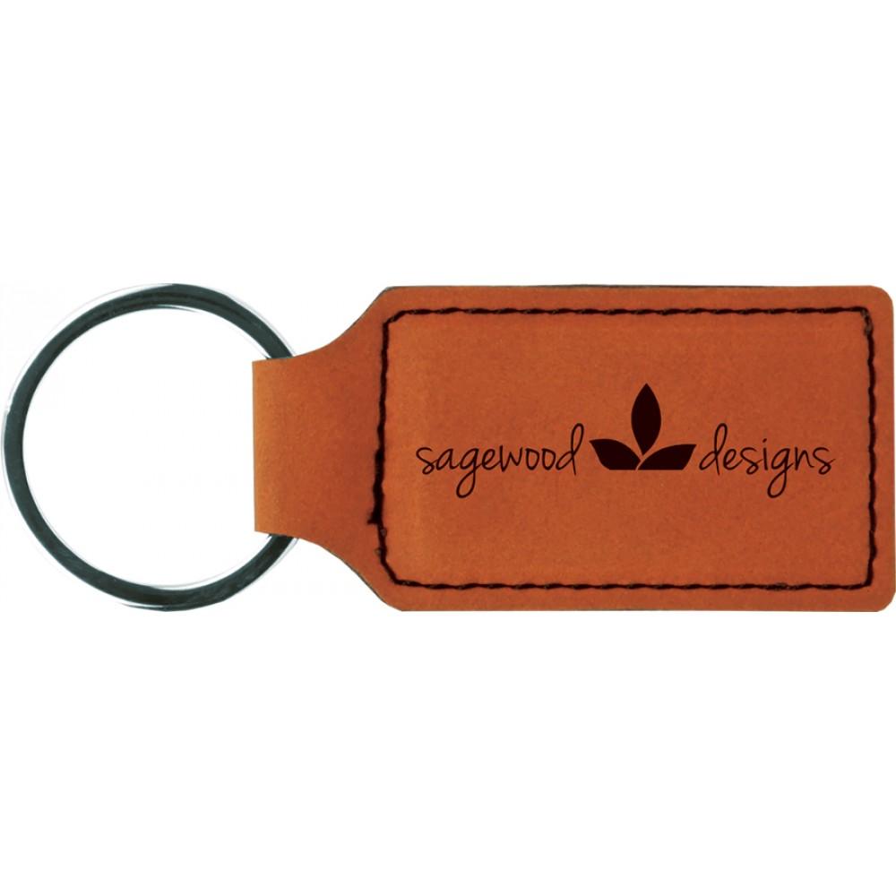 Leatherette Rectangle Keychain (Leatherette)