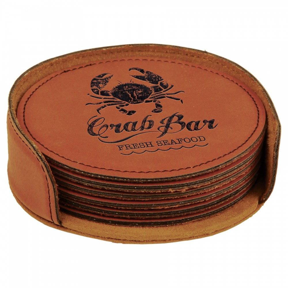 Leatherette Round 6 Coaster Set (Leatherette)