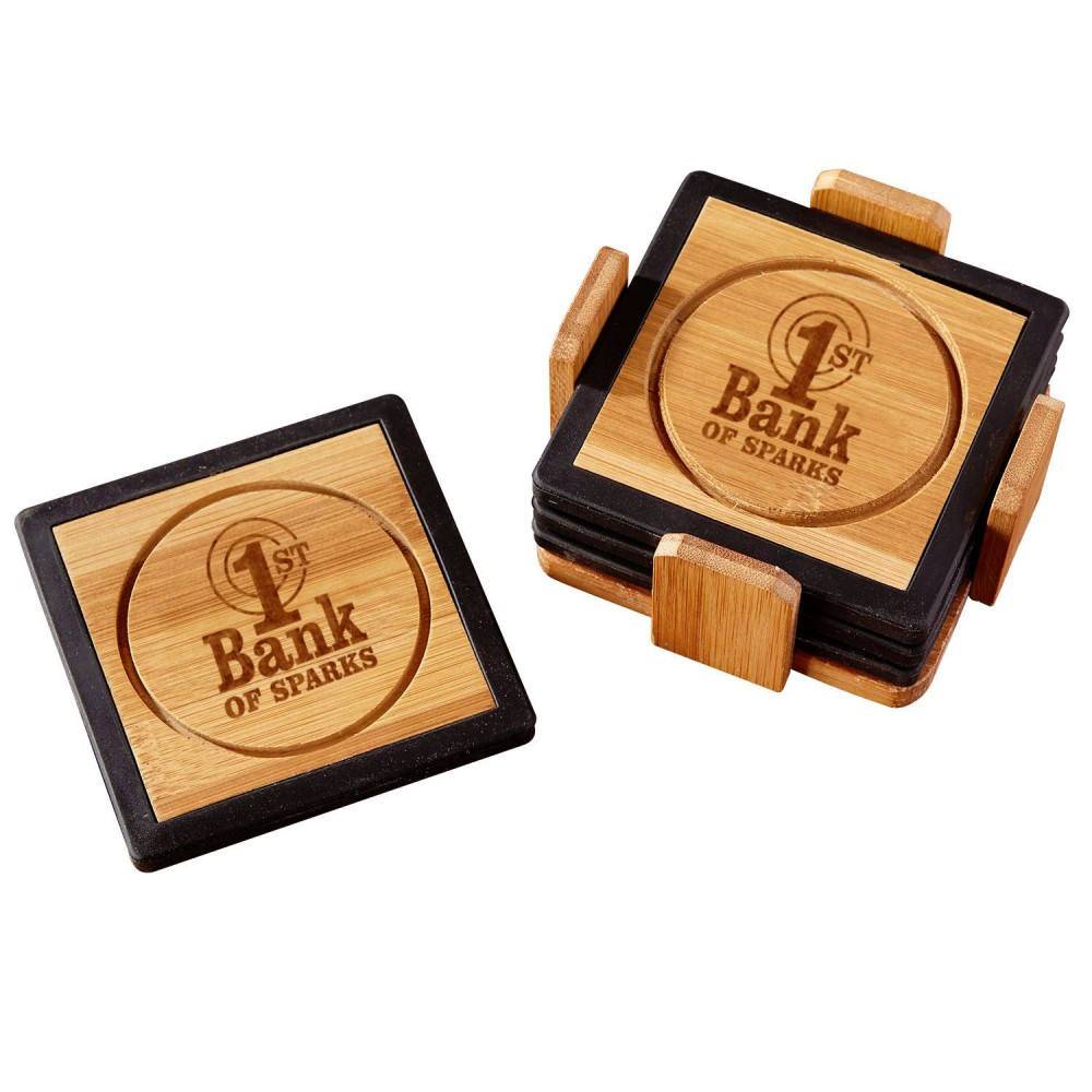 Bamboo and Silicone Coaster Set (Paperweights & Coasters)